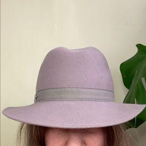 Vintage Wool Grey Felt Fedora France 55cm sm